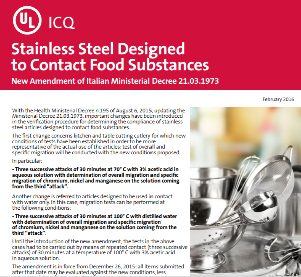 Thumbnail - Food Contact: New Amendment of Italian Ministerial Decree 21.03.1973 for Stainless Steel