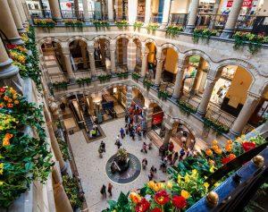A courtyard in a European retail complex