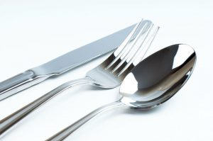 Clean silver fork, spoon, knife