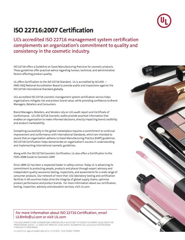 ISO 22716:2007 Certification