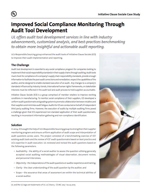Improved Social Compliance Monitoring Through Audit Tool Development.