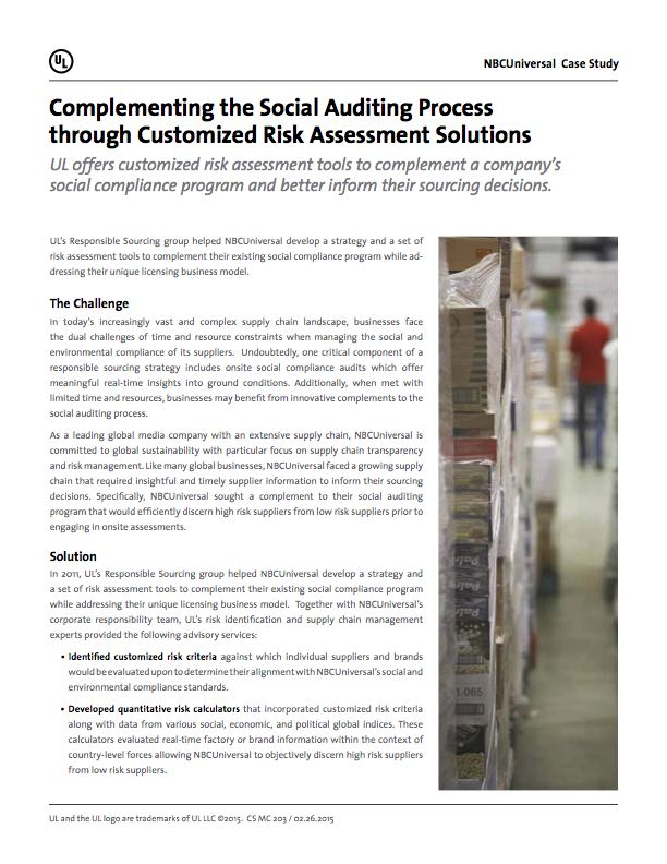 Complementing the Social Auditing Process Through Customized Risk Assessment Solution