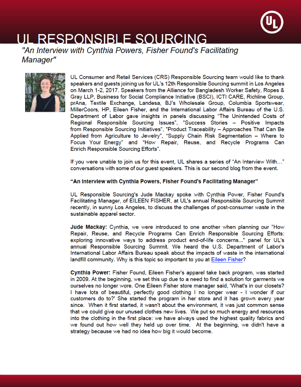 Thumbnail - UL Responsible Sourcing Interviews Cynthia Powers, Eileen Fisher