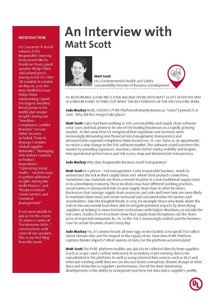 Thumbnail cover - UL Responsible Sourcing Interviews Matt Scott, ULEHSS