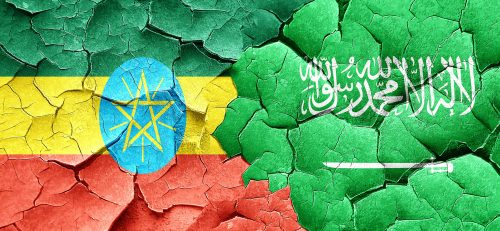 Ethiopia flag with Saudi Arabi