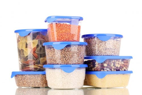 Filled plastic containers isolated