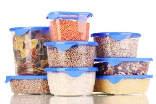 Filled plastic containers isol